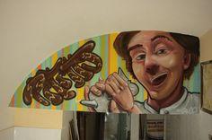 Decorative murals with spray paint to  cake shop #decoration #atelierovunque #spray #spraypaint #cartoon #interior #interiordesign #character #caricature #perso #cake #murales #graffiti #art #sprayart #ruce #restaurant