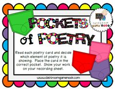 Students read the poetry cards and place them in the correct element of poetry pocket, Freebie