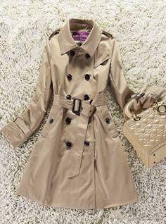 Khaki Lapel Long Sleeve Epaulet Trench Coat