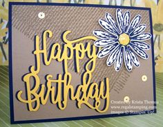 Happy Birthday with Daisy Delight & Burlap background