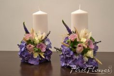 Small wedding candles with purple hydrangea - First Flower Wedding Unity Candles, Pillar Candles, Church Flowers, Hydrangea, Different Colors, Flower Arrangements, Centerpieces, Purple, Design