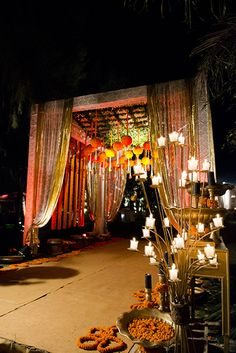 Looking for Entrance decor idea with floral chandelier? Browse of latest bridal photos, lehenga & jewelry designs, decor ideas, etc. on WedMeGood Gallery. Wedding Walkway, Wedding Reception Backdrop, Wedding Entrance, Entrance Decor, Wedding Gate, Gate Decoration, Wedding Bride, Rustic Wedding, Indian Wedding Decorations