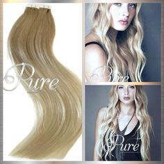 Caramel Roots To Light Blonde - Long Root Stretch - Luxury Tape Hair Extensions Balayage Caramel Blonde, Light Blonde Balayage, Icy Blonde, Brown To Blonde, Blonde Hair Extensions, Tape In Hair Extensions, Best Ombre Hair, Blonde Roots, Virgin Remy Hair
