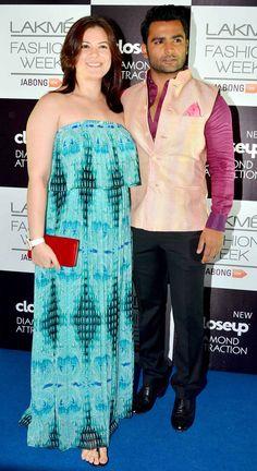Sachiin Joshi and wife Urvashi Sharma at the Lakme Fashion Week Winter/Festive 2014 Day 3. #Bollywood #Fashion #Style #Beauty