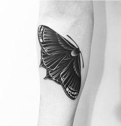 Blackwork Balck Tattoo Moth