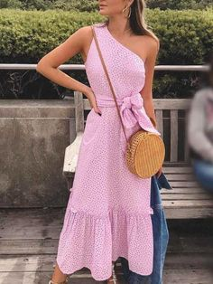 Hollow Out One Shoulder Belted Pep Hem Dress Modest Dresses, Pretty Dresses, Casual Dresses, Short Dresses, Trendy Outfits, Summer Outfits, Cute Outfits, Summer Dresses, Look Boho