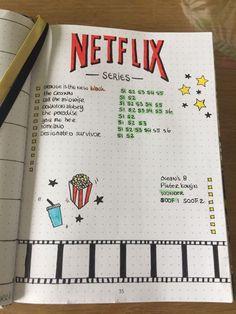 Bullet journal ideeën zoals een Netflix schema met welke seizoenen je allemaal al gezien hebt of nog moet kijken! Bullet journal ideas such as a Netflix schedule with which seasons you've all seen or still have to watch!