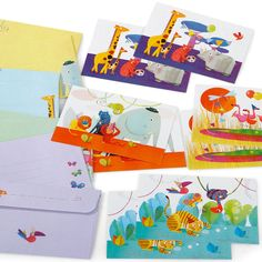 Cartes d'anniversaire la savane de Djeco a envoyer à ses invités