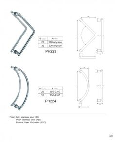 custom glass door pull handles manufacturer PH223 PH224