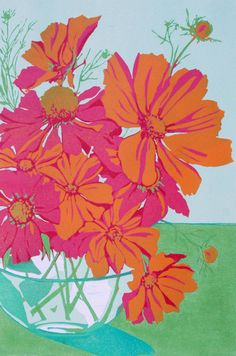 Orange Cosmos original linocut print done in by LisaVanMeter