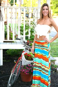 1e3b6895df38bf White Bandeau Bow Crop Top and maxi skirt Crop Top Outfits