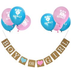 eBoot Boy or Girl Banner and Gender Reveal Balloons Set for Baby Shower Gender Reveal Party Pregnancy Announcement Gender Reveal Balloons, Baby Gender Reveal Party, Baby Shower Party Supplies, Baby Shower Parties, Foil Balloons, Latex Balloons, Baby Shower Decorations For Boys, Baby Shower Balloons, Banner