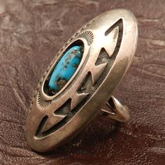 Native American Turquoise and Sterling Silver Ring by J. Yellowhorse