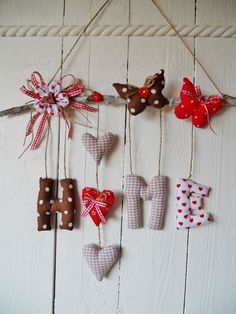 Garland Home Hearts Tilda Cottage Gift Wedding Birthday Shabby Decoration - Christmas Sewing, Felt Christmas, Christmas Crafts, Felt Crafts, Diy And Crafts, Valentine Crafts, Valentines, Diy Y Manualidades, Fabric Hearts