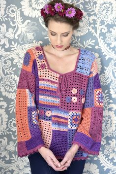 Crochet Top Patterns Free pattern for gypsy* top. *this is a racial slur, plz stop using it. Like, just say boho or something, seriously. Gypsy Crochet, Pull Crochet, Mode Crochet, Freeform Crochet, Crochet Woman, Crochet Tops, Cardigan Au Crochet, Crochet Jacket, Crochet Cardigan