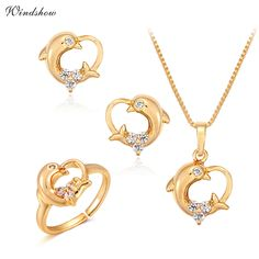 Children Girls Baby Kids Jewelry Sets Yellow Gold Plated Dolphin Heart Charm Pendant Necklace Earrings Ring Festa Jewellery