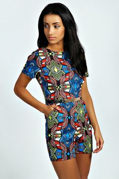 I am just loving prints these days! Faith Multi Tribal Print Belted Playsuit at boohoo.com