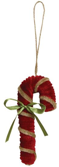 Chenille Candy Cane Ornament - Kruenpeeper Creek Country Gifts