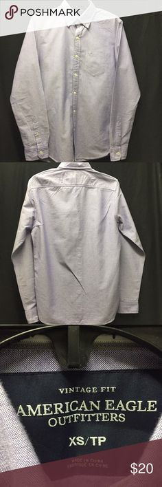 Vintage Fit American Eagle Long Sleeve Button Down Lite Purple with front Picket and AE Logo on it. 100% Cotton. 19in Chest and 30in Long. Great Casual Shirt. American Eagle Outfitters Shirts Casual Button Down Shirts