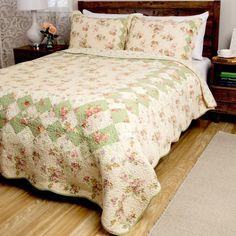 Primrose Reversible 3-piece Quilt Set by Cottage Home   Quilt sets ... : rose cottage quilt shop - Adamdwight.com