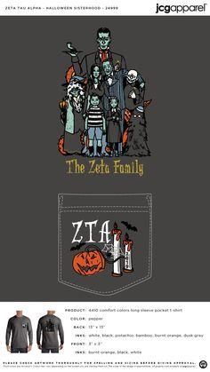 Zeta Tau Alpha Halloween Sisterhood Shirt | Sorority Halloween Sisterhood | Greek Halloween Sisterhood #zetataualpha #zeta #zta #halloween #sisterhood Zeta Tau Alpha, Sigma Kappa, School Store, Sorority Big Little, Big Little Reveal, Custom Design Shirts, Custom Greek Apparel, Sorority Outfits, Phi Mu