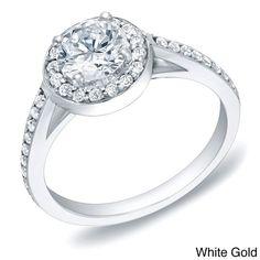 Auriya 14k Gold 1ct TDW Certified Round Diamond Engagement Ring (H-I, SI1-SI2) ( Gold-Size ), Women's
