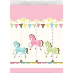 Send your guests home with goodies enclosed in these adorable carousel party themed treat bags! Also consider using as popcorn bags and party favor bags too! Carnival Party Favors, Carnival Themed Party, Carousel Party, Carousel Birthday, Paper Party Bags, Party Favor Bags, Baby Shower Party Bags, Thema Deco, Pochette Surprise