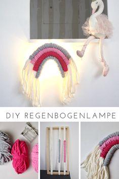 Wie man aus etwas Wolle die trendigen Regenbogen-Wandhänger und daraus eine DIY Regenbogenlampe zaubern kann.   Nachtlicht selber machen aus Fibre Rainbow Wandhänger Crochet Hats, Rainbow, Rain Bow, Simple Diy, Wool, Diy, Projects, Knitting Hats, Rainbows