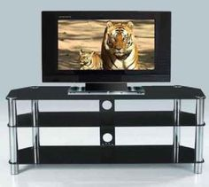 3 Tier Glass TV unit in Black Cooper