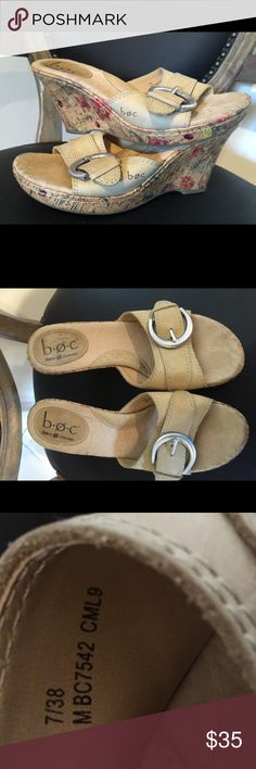 """Noc born sandal with floral wedge so cute BOC Born Sandals Size 7 Tan Leather Straps with Floral Print Wedge  Size: 7 EU 38  Color: Tan Material: Leather upper  Floral print wedge heel: 3 1/2""""         These shoes are in gently used condition. Boc Shoes Wedges"""