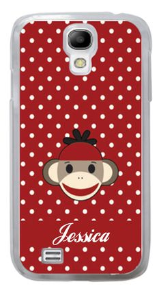 Cute Personalized Samsung Galaxy S3 S4 Red Polk a Dot sock Monkey Case #Samsung case