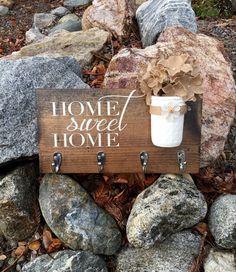Home Sweet Home Sign,Key Holder Sign,Key Holder Decor,Rustic Home Decor,Farmhouse Home Decor,Wood Sign,Wood Decor,Rustic Wood Decor