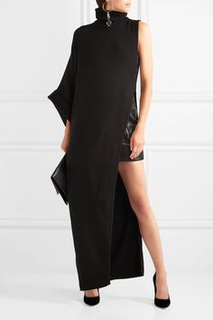 BALMAIN Asymmetric sophisticated merino wool turtleneck maxi dress