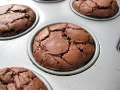 Brownie Bombs - made in a mini-muffin pan with cocoa and TWO kinds of chocolate. Heaven, for sure! Mini Desserts, Just Desserts, Delicious Desserts, Dessert Recipes, Yummy Food, Dessert Ideas, Cake Recipes, Muffin Pan Recipes, Baking Recipes