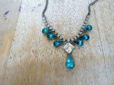Aqua rhinestone necklace Vintage art deco necklace aquamarine 1930s jewelry