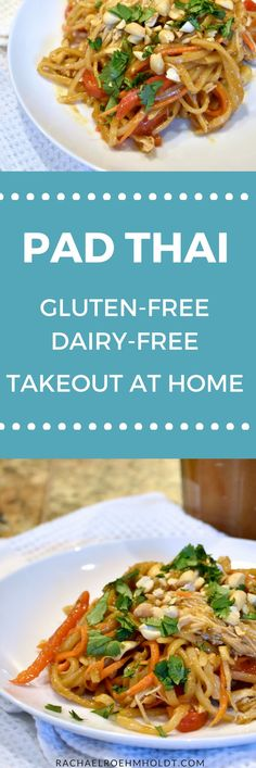In the mood for Thai food but need it gluten-free? Try this Thai takeout-at-home Pad Thai recipe that is gluten-free and dairy-free. Click through for the full recipe. #glutenfree #dairyfree #nutrition #health