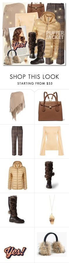 """""""Shine In Your Puffer Jacket"""" by petri5 ❤ liked on Polyvore featuring Burberry, MICHAEL Michael Kors, Sonia Rykiel, Finders Keepers, Bogner, Canvas by Lands' End, Aurélie Bidermann, Anya Hindmarch, J.Crew and John Lewis"""