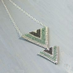Sage Green and Grey Triangle Seed Bead Necklace - product images of