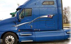 Truck Semi Decals Canadian Flag Stripes Vinyl Trailer Graphics and up Semi Trucks, Big Trucks, Car Decals, Vinyl Decals, American Flag Stripes, Semi Trailer Truck, Recreational Vehicles, Graphics, Trailers