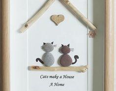 Galet Art encadré photo - chats font une maison une maison
