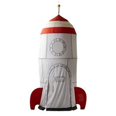 Our kids rocket ship playhouse can be hung anywhere in the home. This play rocket ship has an embroidered flag, lookout windows, attachable fins and more.