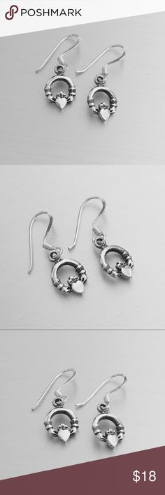 Sterling Silver Small Claddagh Earrings Sterling Silver Small Claddagh Earrings, 925 Sterling Silver, Height 24 mm (0.94 inch) Jewelry Rings