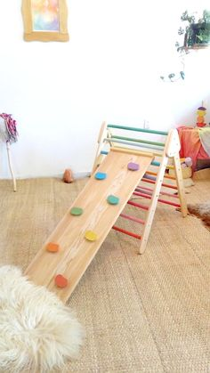Foldable climbing spiked triangle and wall rock board - wooden slide / climbing frame for babies and toddlers # Wooden Plugs, Selling Handmade Items, Rock Wall, Wood Glue, Wooden Toys, Kids Room, Triangle Wall, Wall Wood, Pediatrics