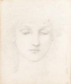 Head of a Girl study, Edward Burne-Jones. English Pre-Raphaelite Painter (1833-1898)
