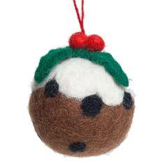Fairtrade Hand Made Wool Christmas Pudding Hanging Decoration - 60mm Diameter (022-20848)