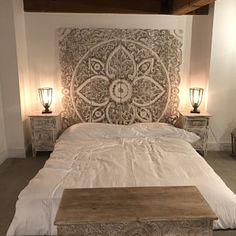 Beach Bedroom Decor, Bohemian Bedroom Decor, Wood Bedroom, Bedroom Furniture, Bohemian Headboard, Wood Carved Headboard, Wall Mounted Headboards, Headboards For Beds, King Size Bed Headboard