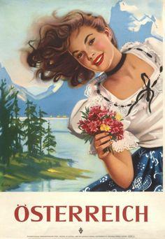 Vintage Travel Poster - Austria - by Else Czulik, Ski Posters, Travel Ads, Travel Photos, Retro Poster, Gig Poster, Austria Travel, Art Graphique, Vintage Travel Posters, Illustrations And Posters