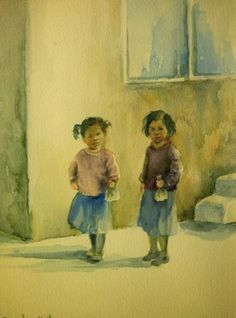 Aquarelle on Paper, Portraits & Landscapes - Smadar Katz, Painter Realist paintings in oil and and watercolor: portraits, nudes, landscape Watercolor Paintings, Original Paintings, Original Art, Watercolor Portraits, Painting Art, Painting For Kids, Art For Kids, Children Painting, Buy Art