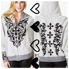 HP 9/19FRENCH TERRY SWEATSHIRT WITH BLING Elaborate design on front, back and cuffs! Decorative bling make this hoodie really stand out from the crowd. Really unique! French Terry fabric, zip front. Made in USA PLEASE DO NOT BUY THIS LISTING! I will personalize one for you. tla2 Jackets & Coats