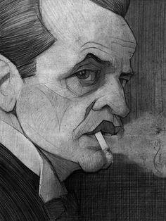 Klaus Kinski illustration sketch by Stavros Damos, via Behance  Would be rad to use Damos for illo of Baden Powell